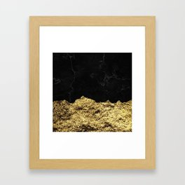 Rough Gold Torn and Black Marble Framed Art Print