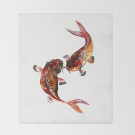 Two Koi, Feng Shui Art Koi Fish Throw Blanket