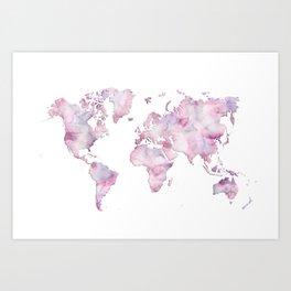 Lavander and pink watercolor world map Art Print