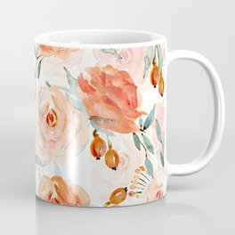 Living Coral Autumnal Roses Coffee Mug