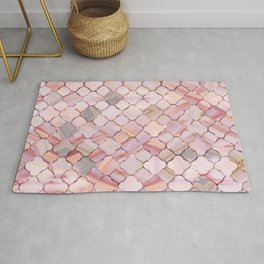 Moroccan Pattern in Marble and quartz crystal Texture Rug