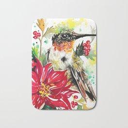 Christmas hummingbird 1 Bath Mat