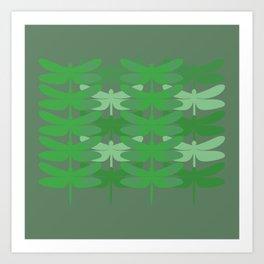 green dragonflies Art Print