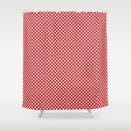 Fiery Red and White Polka Dots Shower Curtain