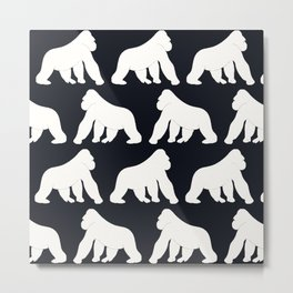 Gorillas White Metal Print