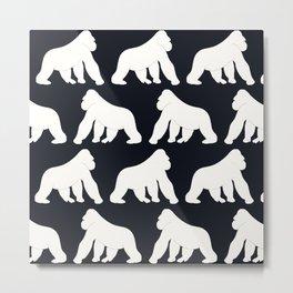 Gorillas White Metal Print