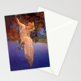 'Reveries' - Girl on a Swing on top of the World by Maxfield Parrish   Stationery Cards