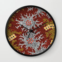Authentic Aboriginal Art - Bushland Dreaming Wall Clock