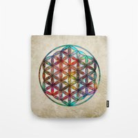 flower of life Tote Bags featuring Flower of Life by Klara Acel