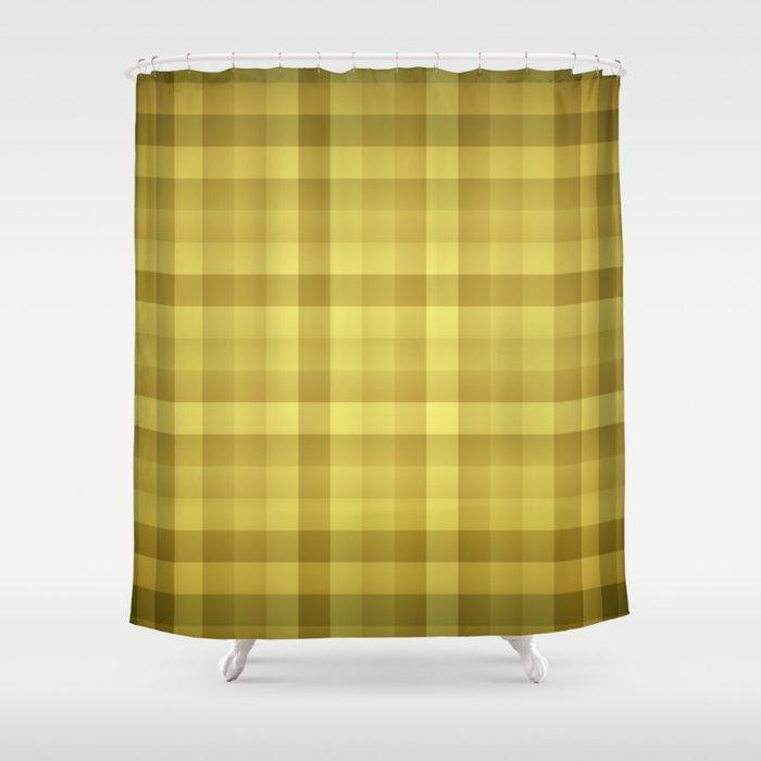 Golden Buffalo Check Plaid Tartan Shower Curtain By Podartist