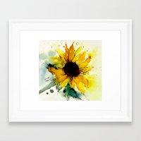 sunflower Framed Art Prints featuring sunflower by annemiek groenhout