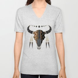 Buffalo Skull and Feathers (Brown) Unisex V-Neck
