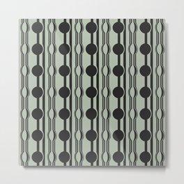 geo six dot stripe-charcoal on celadon Metal Print