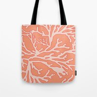 coral Tote Bags featuring Coral by victoria negrin