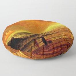 Classical Masterpiece Coastal Sunset by Albert Bierstadt Floor Pillow