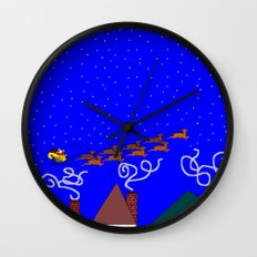 Santa and His 9 Tiny Reindeer Wall Clock
