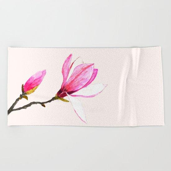 magnolia watercolor painting Beach Towel