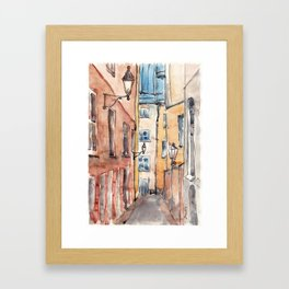 Street in Italy. Watercolor illustration Framed Art Print