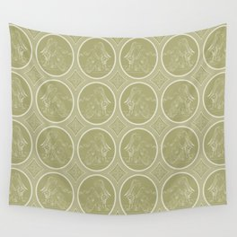 Grisaille Antique Gold Neo Classical Ovals Wall Tapestry