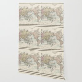 Vintage Map of the World (1875) Wallpaper