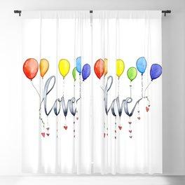Rainbow Love Balloons Blackout Curtain