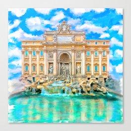 Trevi Fountain - Landmark Rome - La Dolce Vita Canvas Print