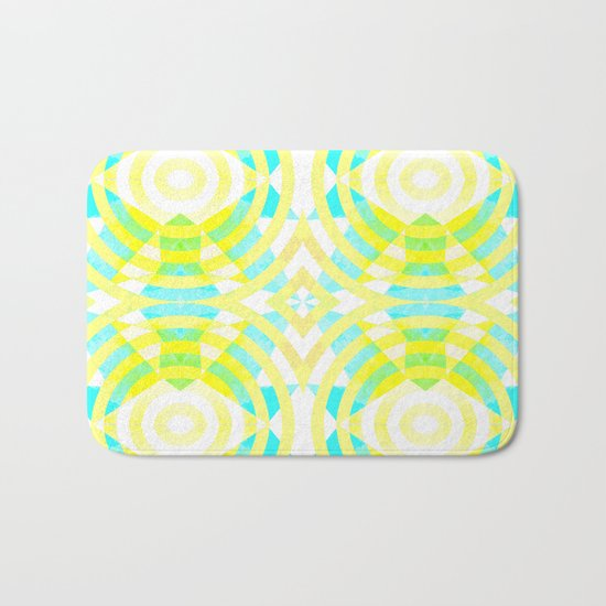 Funky geometry in yellow and blue Bath Mat