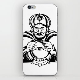 Fortune Teller Eye on Crystall Ball Woodcut iPhone Skin