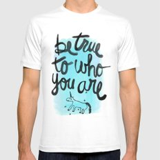 Be True White MEDIUM Mens Fitted Tee