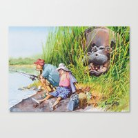 hippo Canvas Prints featuring hippo! by Rose Rigden