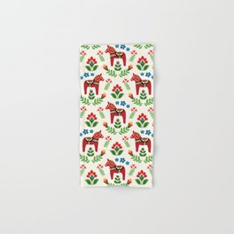 Swedish Dala Horses Red Hand & Bath Towel