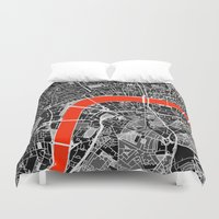 london map Duvet Covers featuring London Map by Dizzy Moments