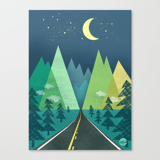 The Long Road at Night Canvas Print