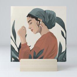 Serene and scarf Mini Art Print