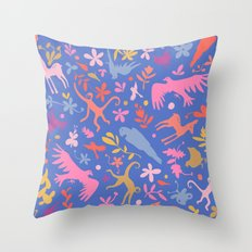 Frid Menagerie in Azul Throw Pillow