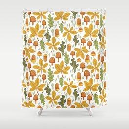 Autumn Forest Floor Pattern - White Shower Curtain