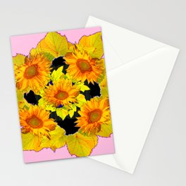 Golden Sunflowers & Leaves Pink-Black Patterns Stationery Cards