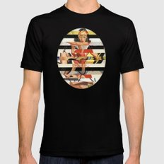Glitch Pin-Up Redux: Lindsey MEDIUM Black Mens Fitted Tee