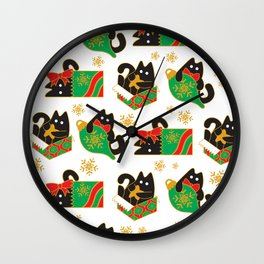 Velvet The Curious Cat - Christmas Wall Clock