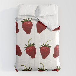 Red, Ripe Strawberries Tumbling in Rows Comforters