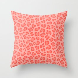 Leopard - Living Coral Throw Pillow