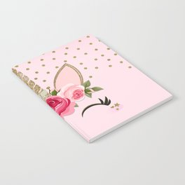 Pink & Gold Cute Floral Unicorn Notebook