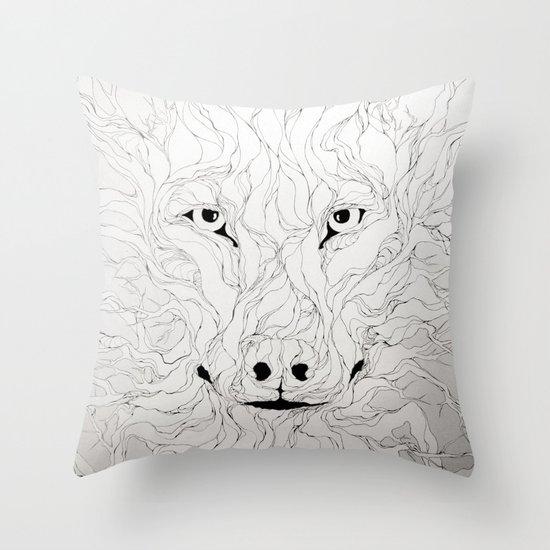 Wolfs wood Throw Pillow