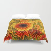 sunflowers Duvet Covers featuring SUNFLOWERS by Vargamari