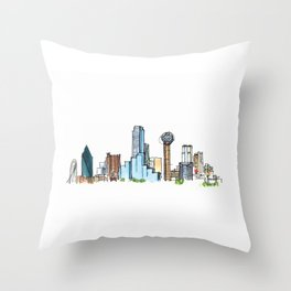 downtown dallas skyline Throw Pillow