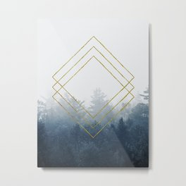 Forest Geometry in Classic Blue Metal Print