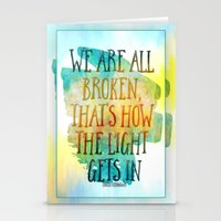 hemingway Stationery Cards featuring We are All Broken Ernest Hemingway Quote by Ginkelmier