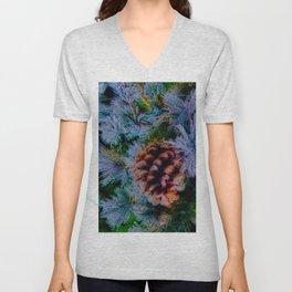 Vibrant Evergreen Christmas Unisex V-Neck