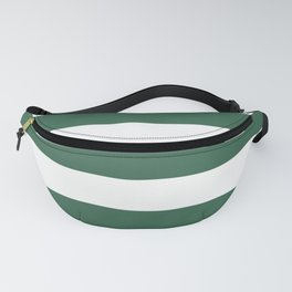 Poker Green - solid color - white stripes pattern Fanny Pack