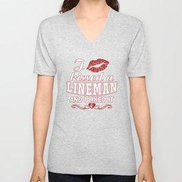 I kissed a LINEMAN Unisex V-Neck